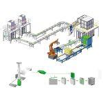 productielopende palletiseerlijn voor secundaire verpakkingen
